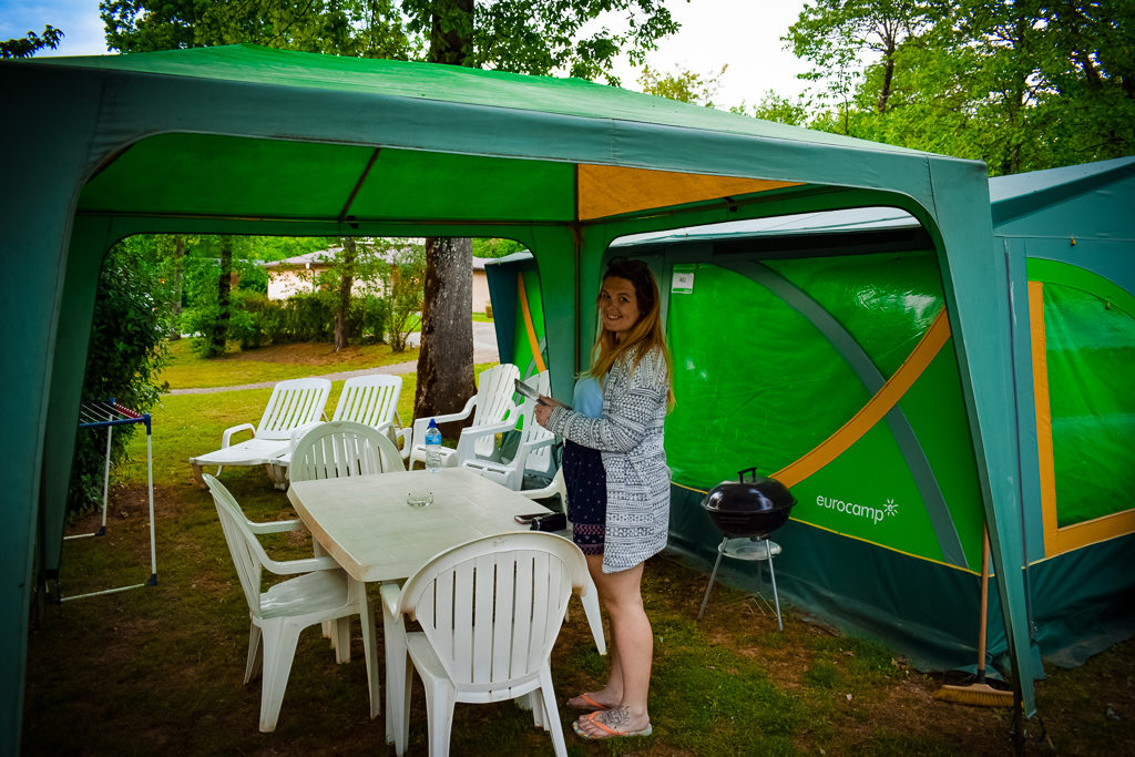 Breanne outside a eurocamp classic tent