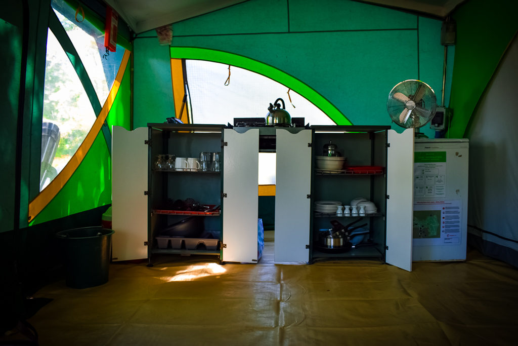 eurocamp classic tent kitchen with all its inventory