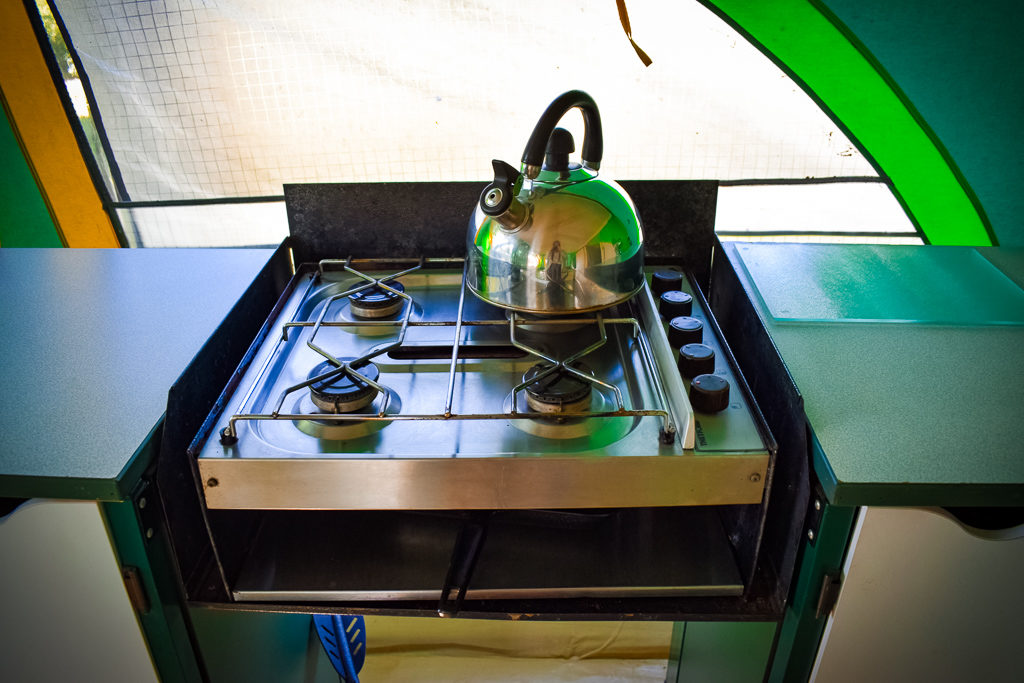 the kettle and gas hob in our eurocamp classic tent
