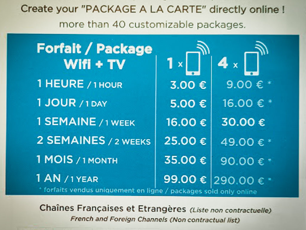 wifi packages and costs at saint avit loisirs
