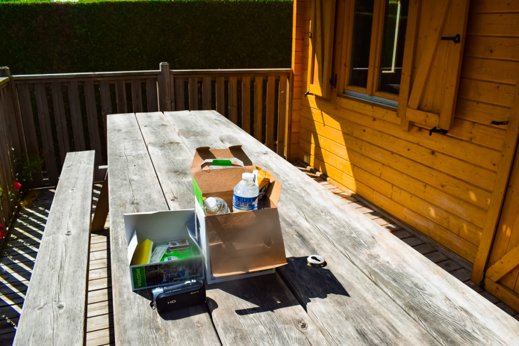 outside table with eurocamp welcome pack on at la croix du vieux pont berny riviere