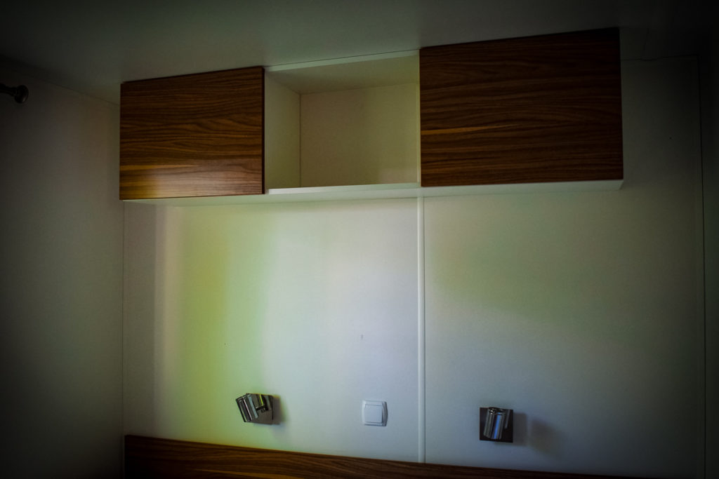 storage cupboards in the avant or azure plus twin room at sequoia park with eurocamp