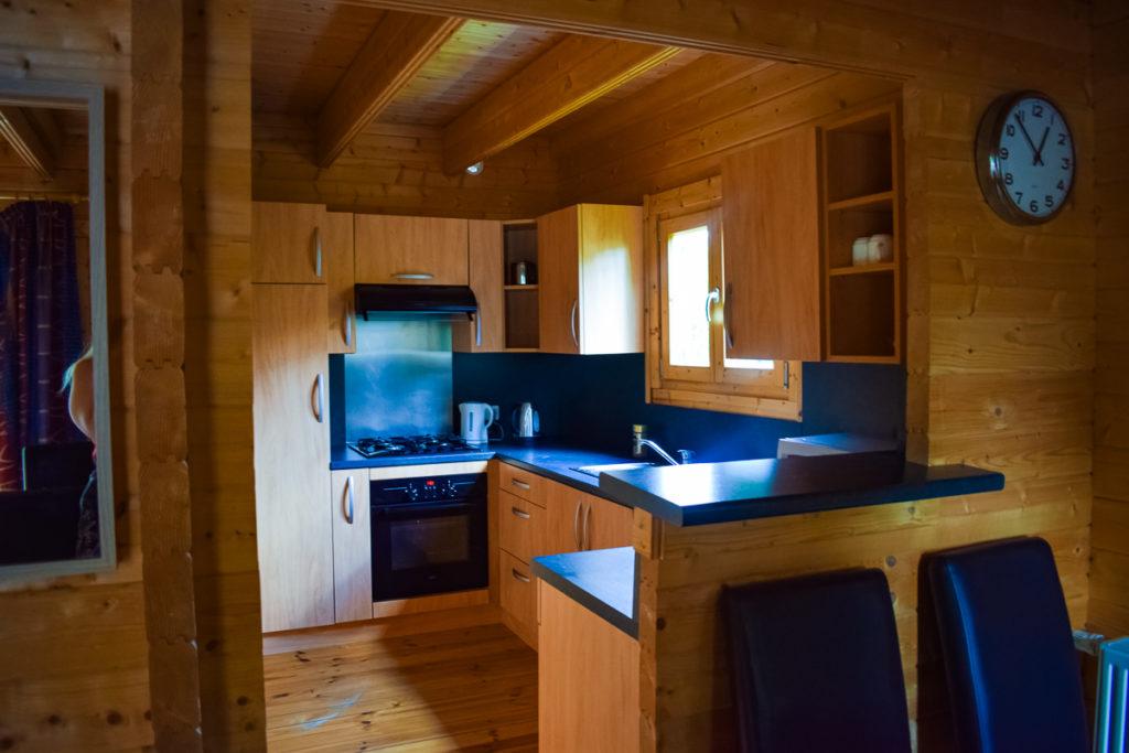 Kitchen in our eurocamp 4 bedroom wooden villa lodge at la croix du vieux pont