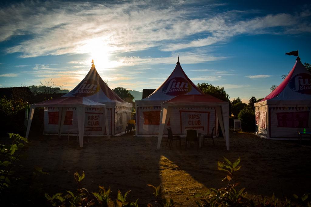Fun station tents at La Croix du vieux pont berny riviere france (11)