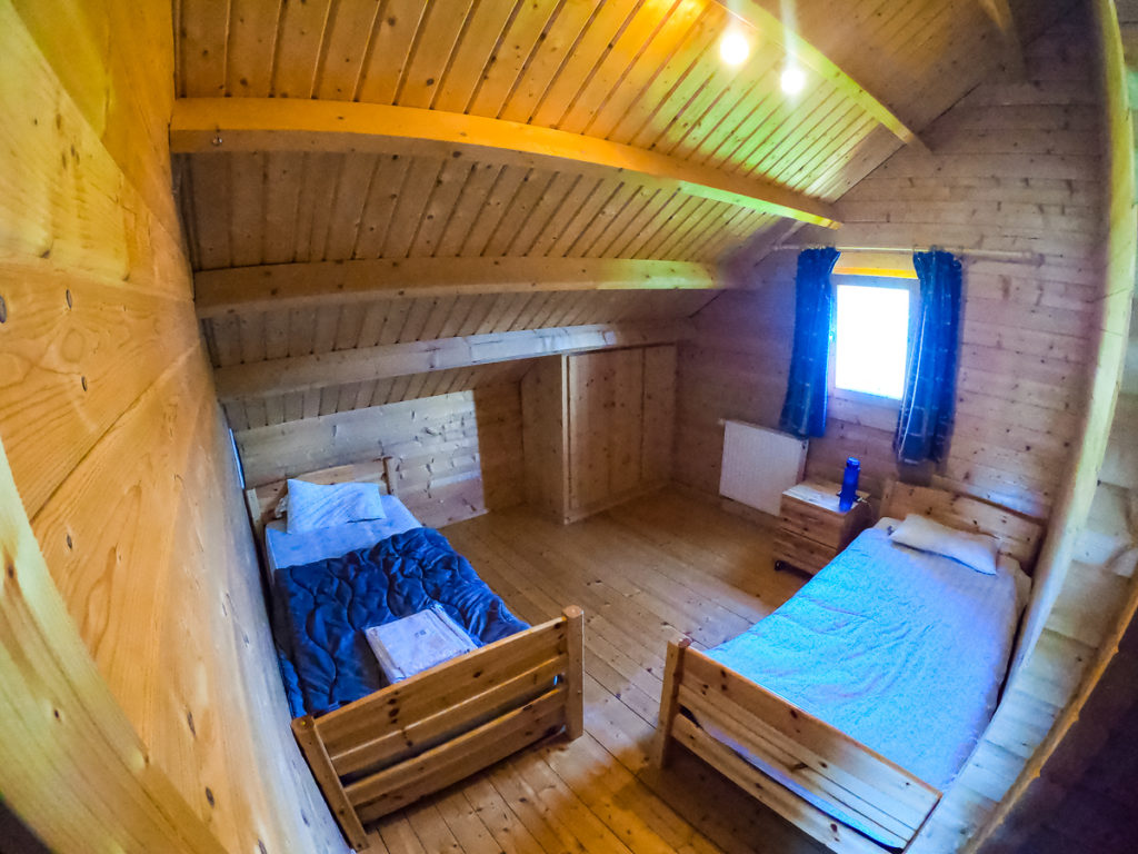 Twin room photo using go pro camera fish eye lens in the 4 bedroom wooden lodge at la croix du vieux pont berny riviere