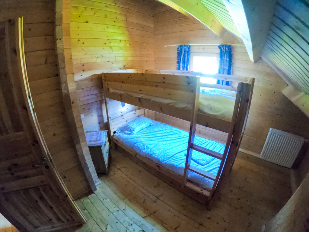 go pro fish lens photo of entire bunk room in the 4 bedroom wooden lodge at la croix du vieux pont berny riviere