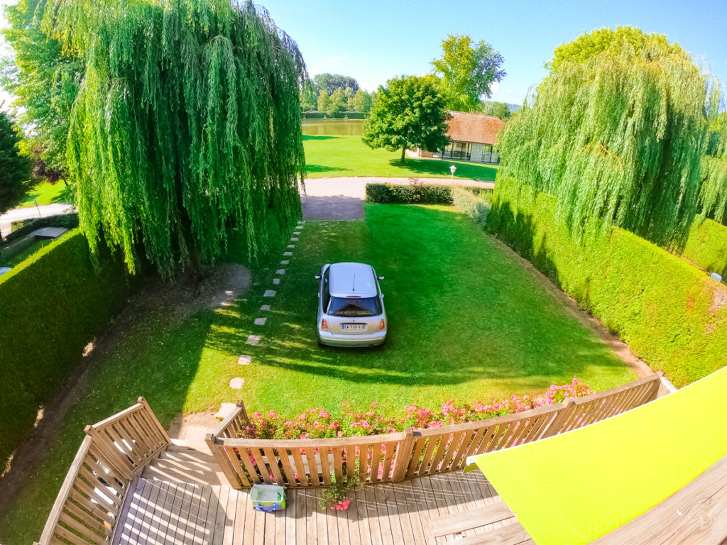 Go pro image from the top balcony of the outdoor space in our 4 bedroom villa lodge with eurocamp at la croix du vieux pont berny riviere