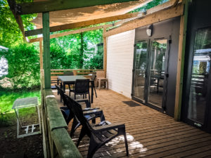 Outside seating area in the Eurocamp Azure plus mobile home