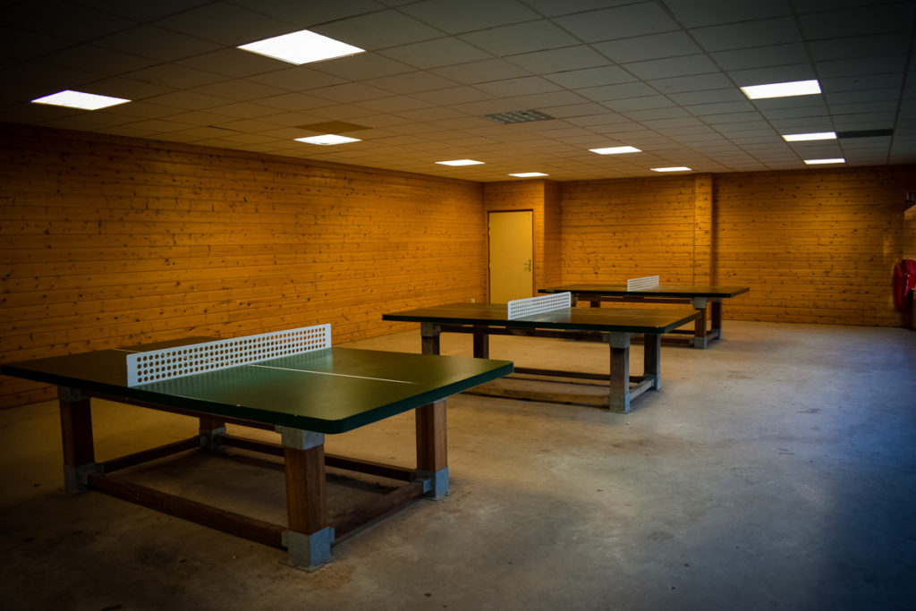 One of the indoor table tennis courts at La Croix du vieux pont berny riviere france (12)