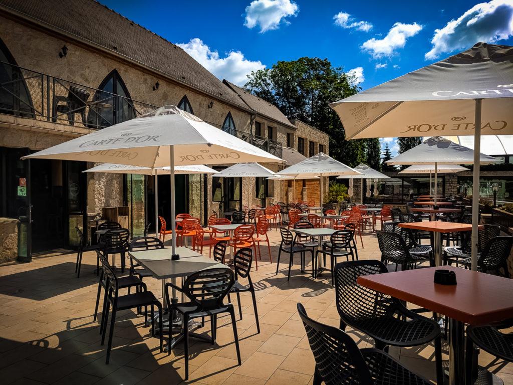Outside the main summer bar at La Croix du vieux pont berny riviere france (59)