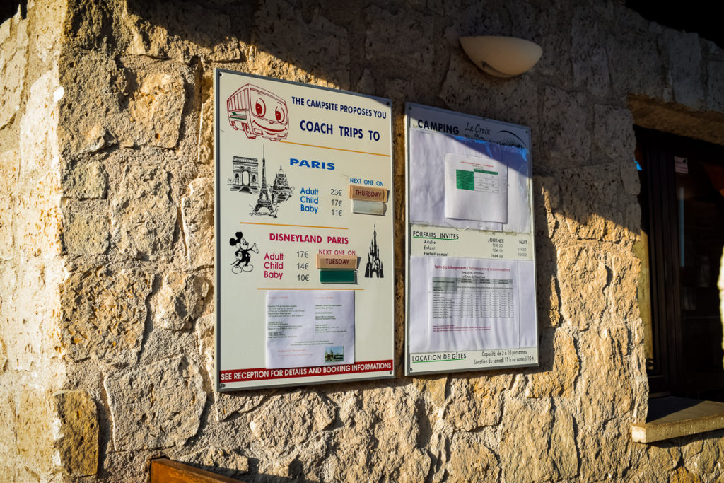 The information on the paris and disneyland paris trips outside the main campsite reception of La Croix du vieux pont berny riviere france (15)