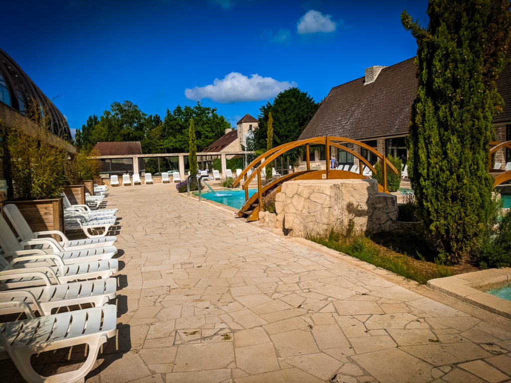 The outdoor pool area at La Croix du vieux pont berny riviere france (61)