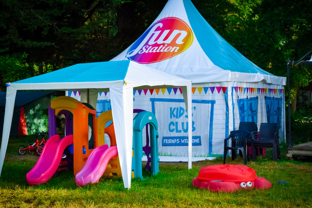 fun station tents for the eurocamp kids club at camping la garangeoire