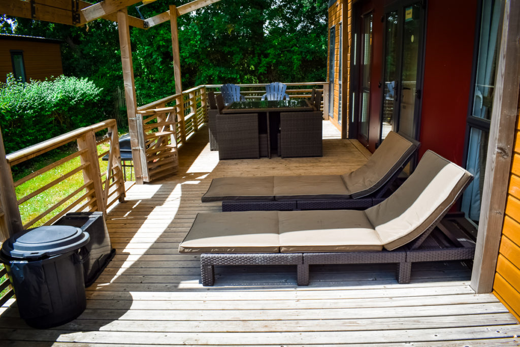 outside area and large decking at the aspect mobile home by eurocamp