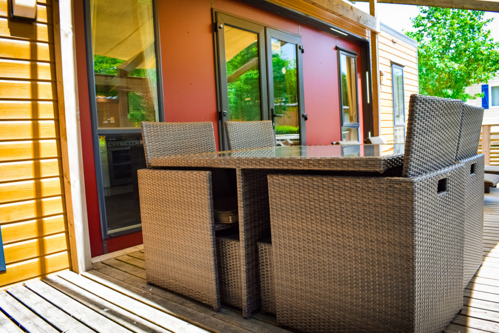 outside wicker furniture as part of the eurocamps aspect mobile home