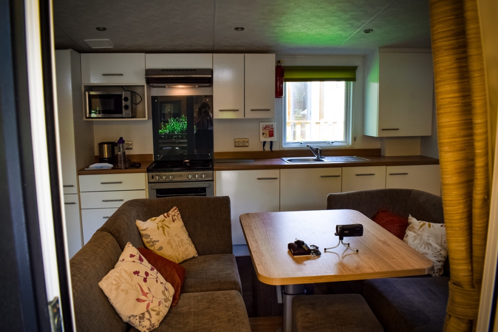 open plan living area in the aspect mobile home at la garangeoire