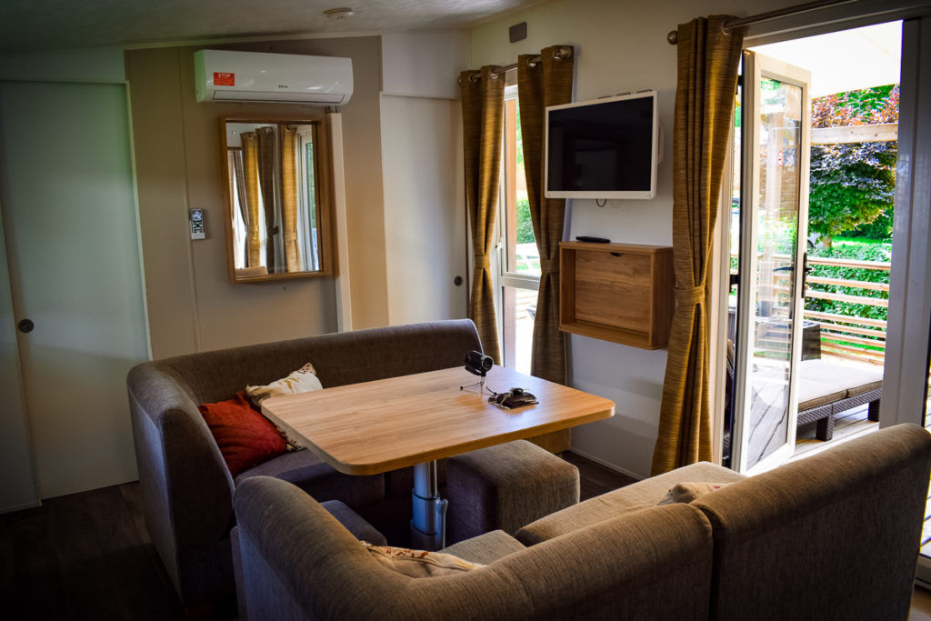 Living room area in the Aspect mobile home by eurocamp