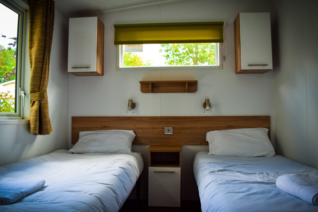 aspect mobile home twin bedroom at camping la garangeoire with eurocamp