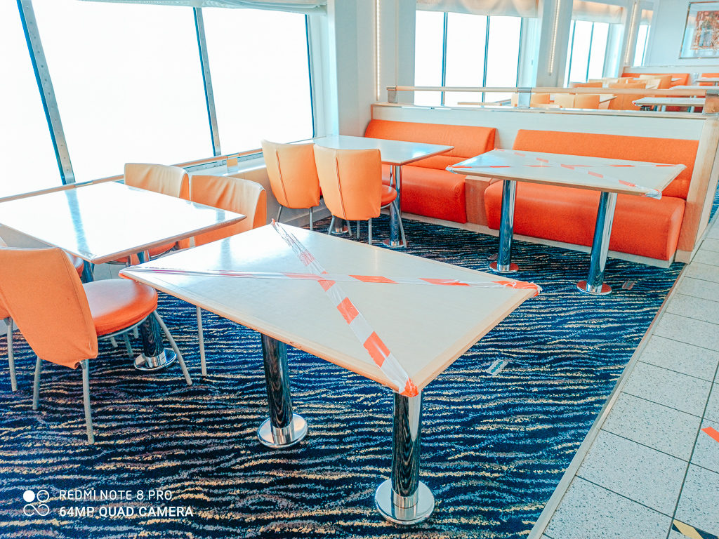 tables were cordoned off in the self service restaurant on board the Brittany ferries first post lock down service