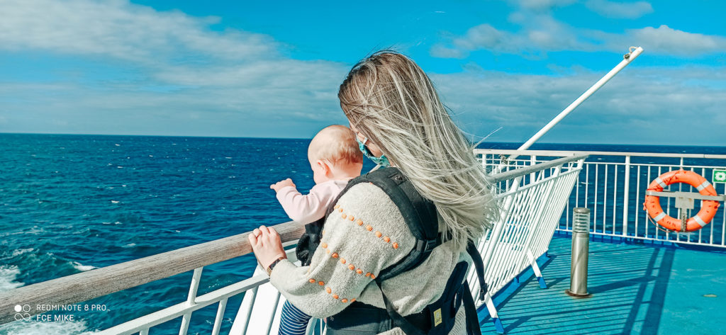 Breanne and baby on board Brittany Ferries Post Lock Down Looking Out To Sea from the deck