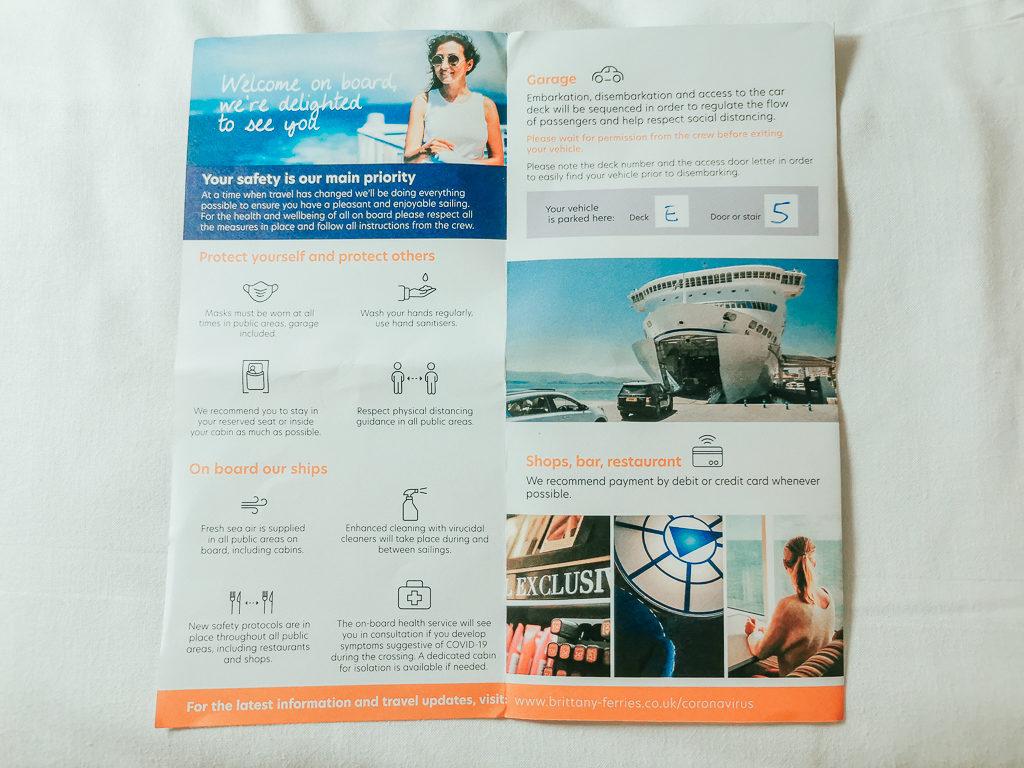 leaflet explaining Brittany ferries procedures post lock down