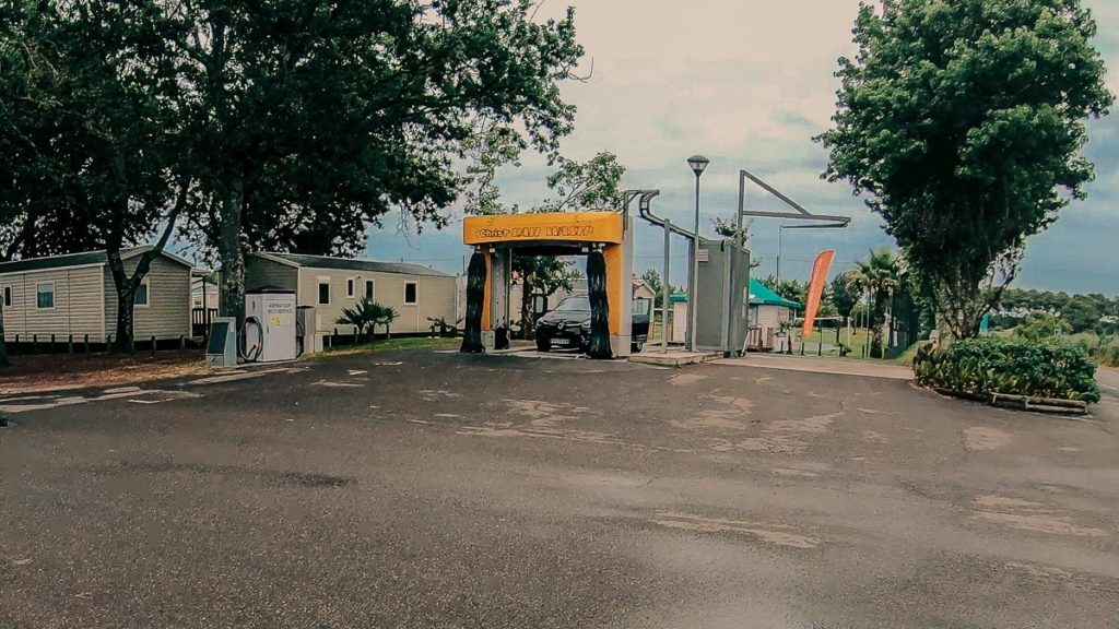 Carwash at camping le vieux port by Resasol in Messanges, Landes department, France