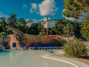 The Pirate ship at The pool area at camping le vieux port by Resasol in Messanges, Landes department, France