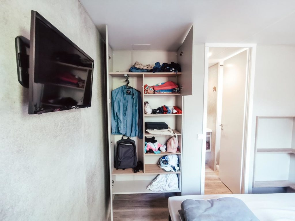 bedroom wardrobe in our 4p premium lodge mobile home accommodation at Camping le Vieux Port Landes france