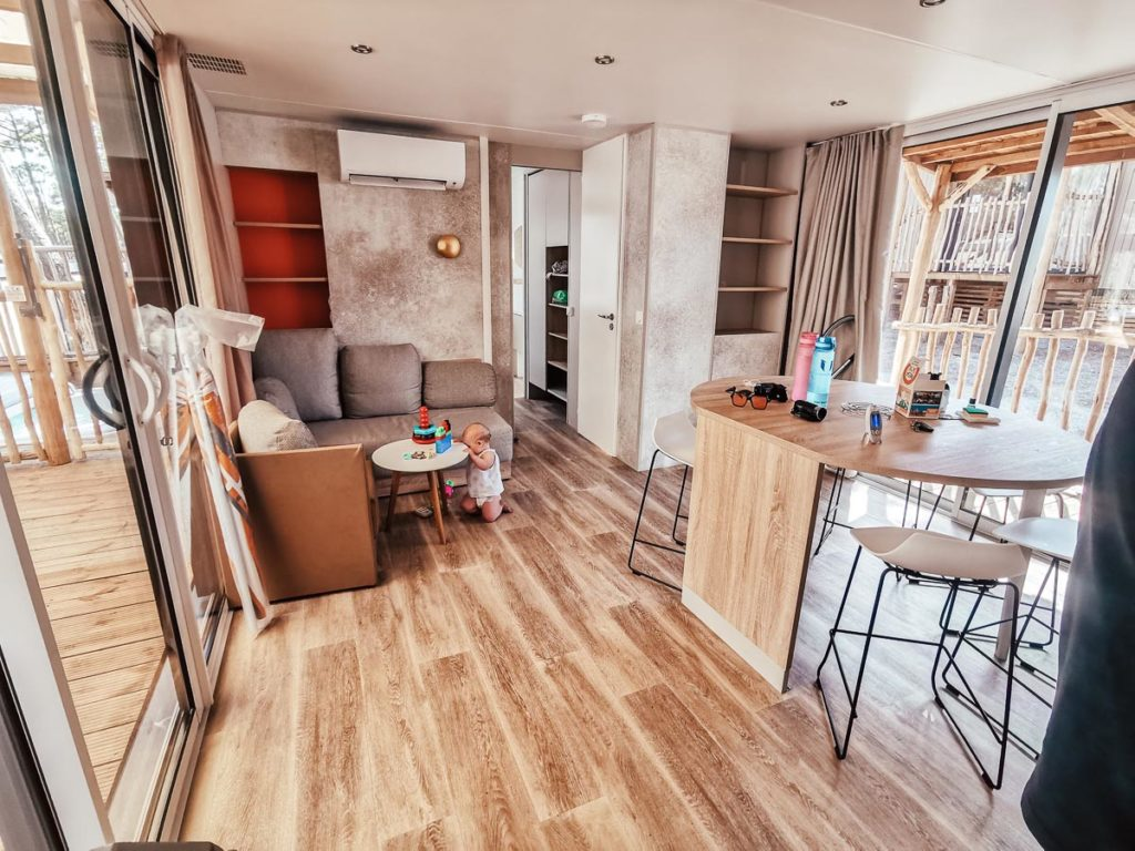 living space in our 4p premium lodge mobile home accommodation at Camping le Vieux Port Landes france