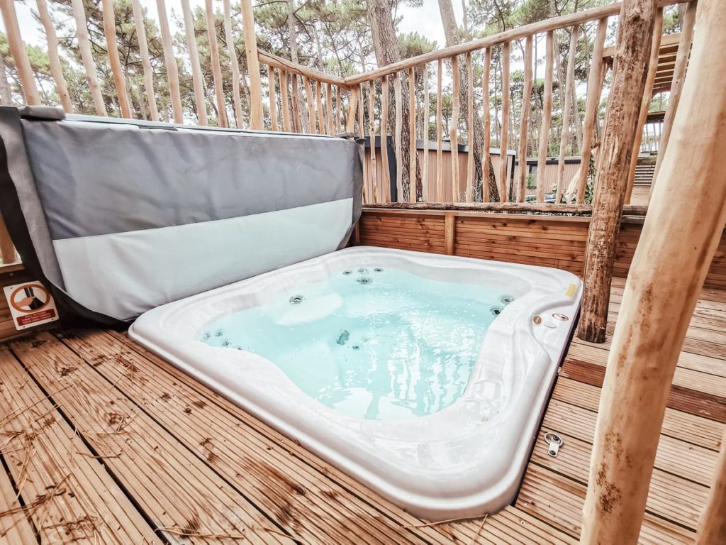 our hottub in our 4p premium lodge mobile home accommodation at Camping le Vieux Port Landes france