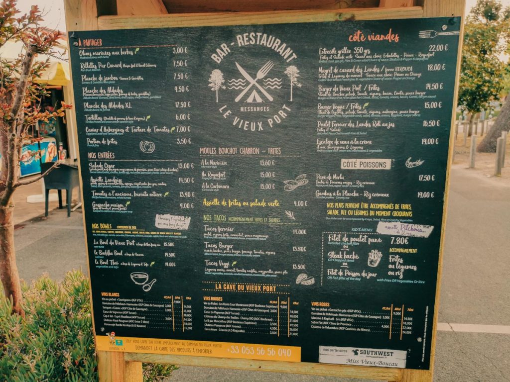 restaurant menu at camping le vieux port by Resasol in Messanges, Landes department, France