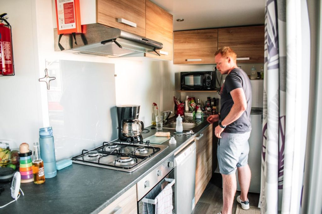 kitchen in our Azure Plus 2 bedroom from Eurocamp at Camping des menhirs