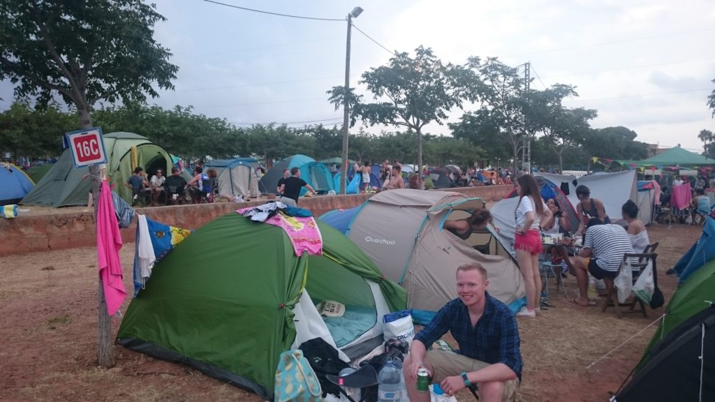 cAMPING AT A FESTIVAL IN A TENT IN sPAIN AT THE fib