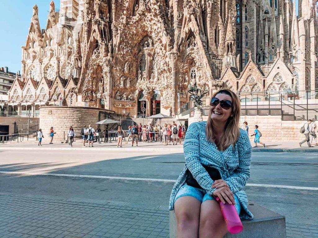 Breanne sat outside the sagrada familia in Barcelona holding her water bottle