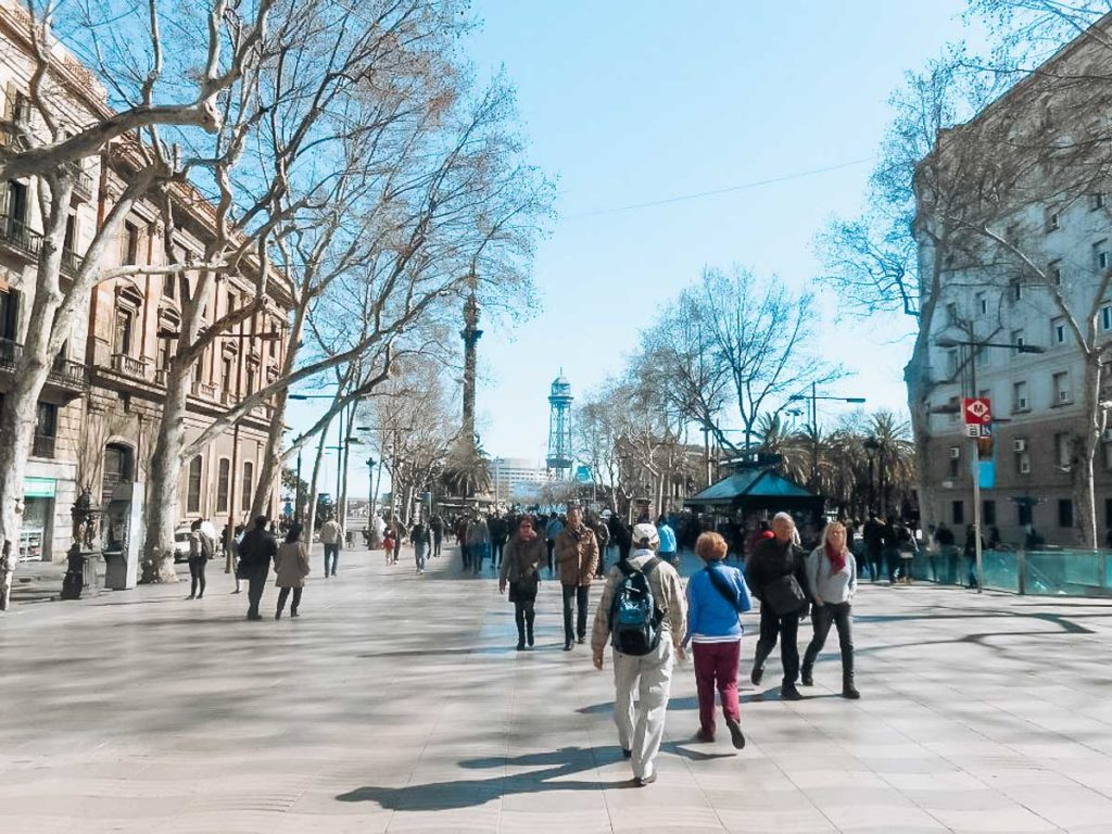 La Rambla in winter with bare trees and no crowds in Barcelona for things to do in barcelona