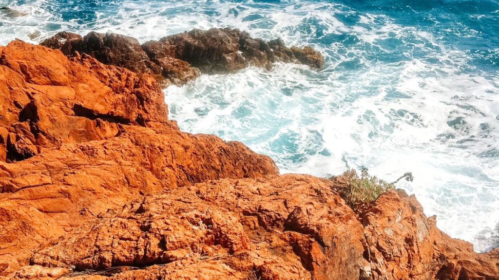 The red rocky cliffs at the red rocks in santa lucia port near frejus in the var region france