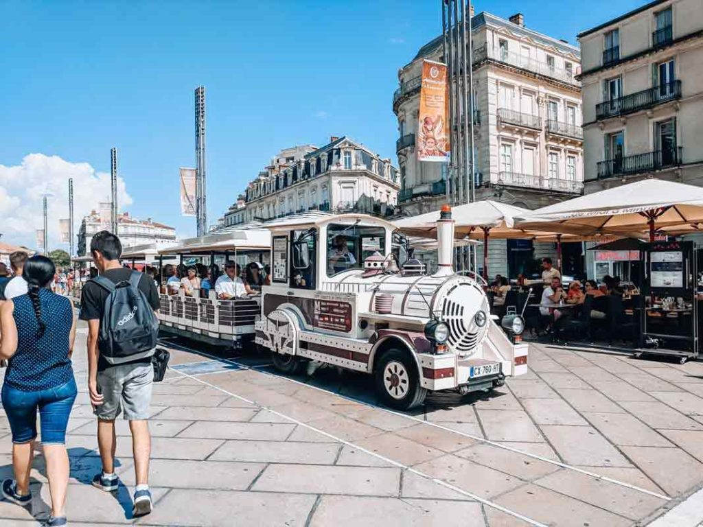 The tourist train in montpellier at place de la comedie