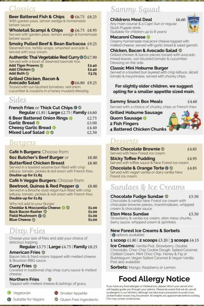 menu for the campsite restaurant at Hoburne bashley holiday park
