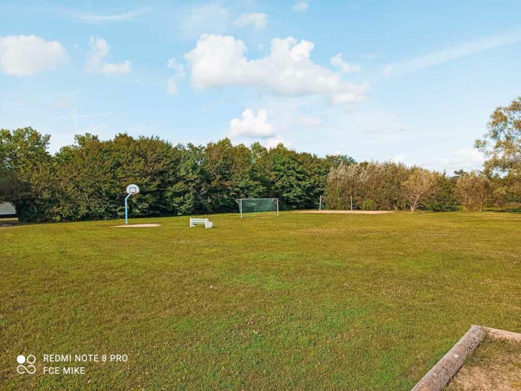 the football field and volleyball court at yelloh village la roche posay