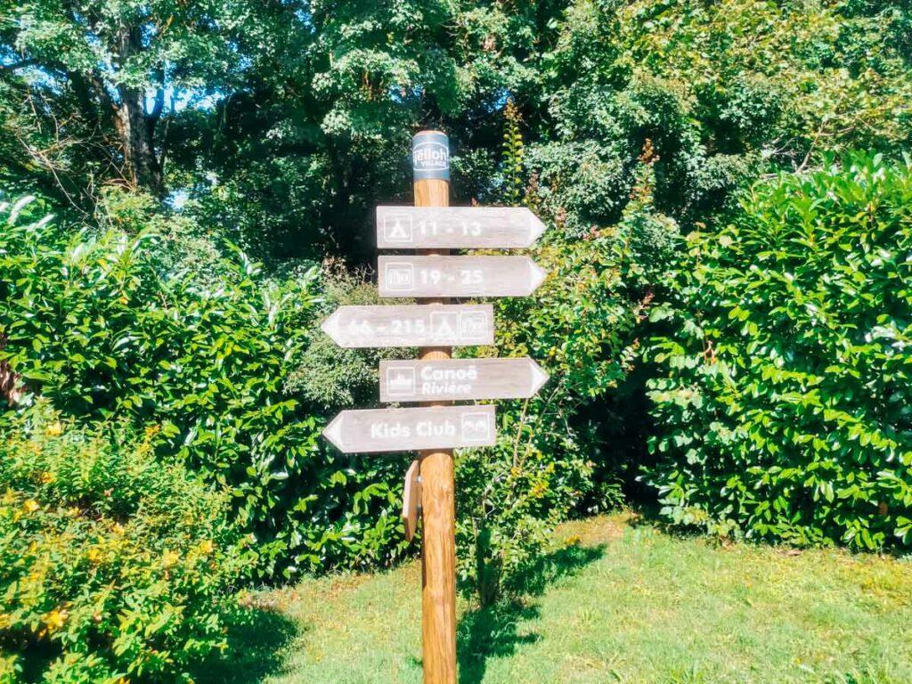 Sign post on the campsite at yelloh village la roche posay