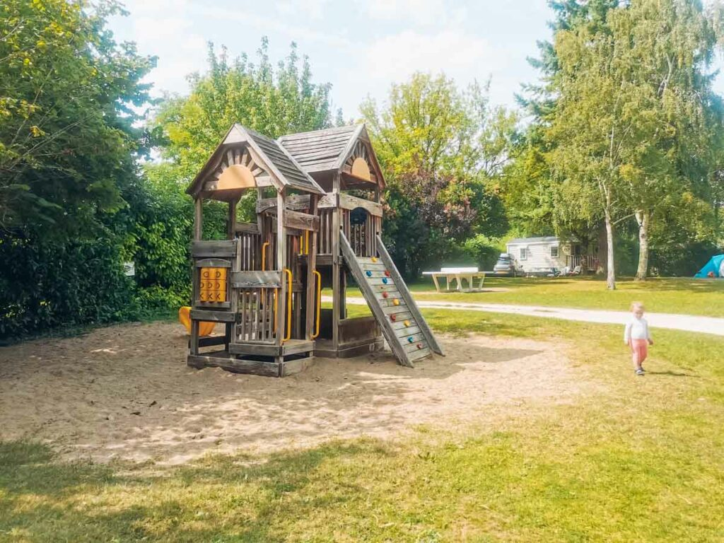 Large wooden play area for children at camping la roche posay