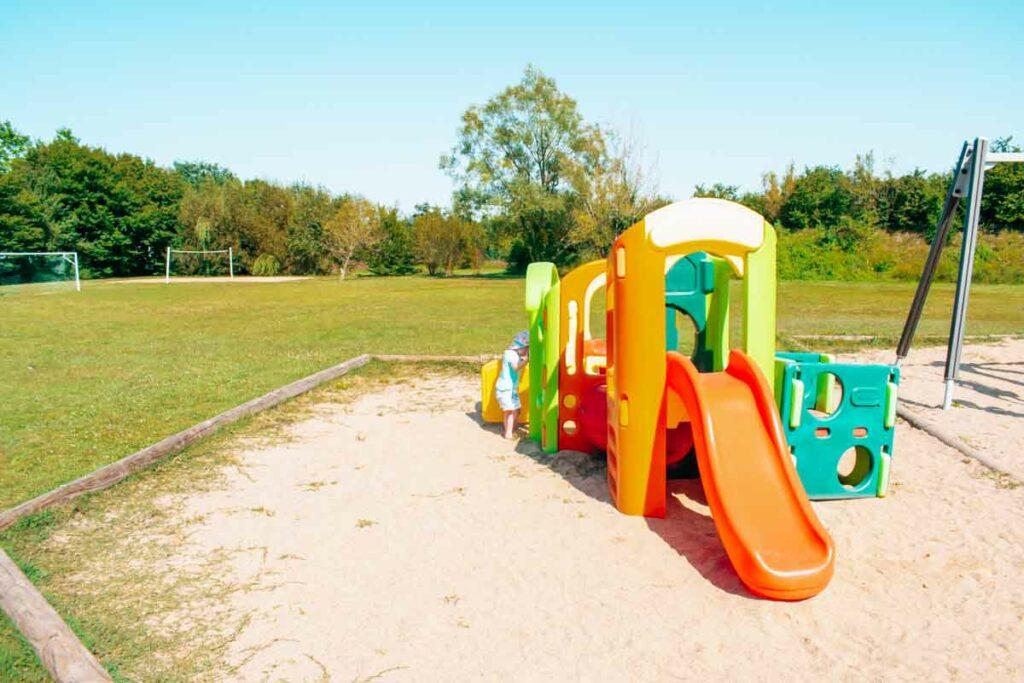 Toddler plastic play area at the la roche posay campsite