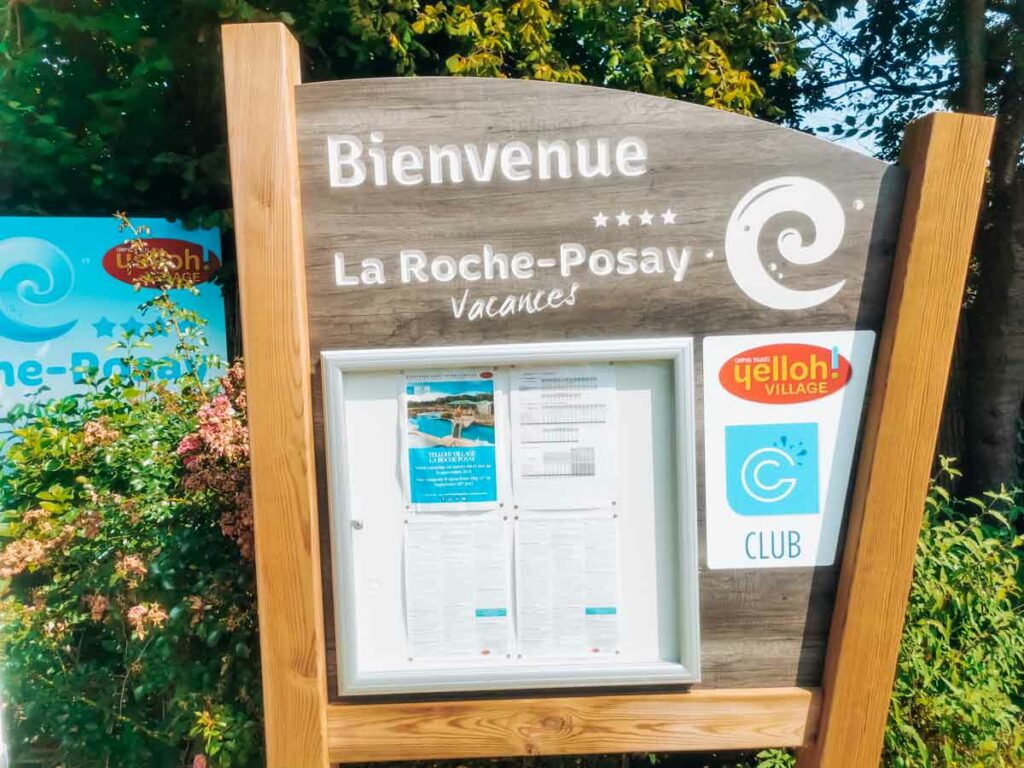 welcome sign at camping la roche posay