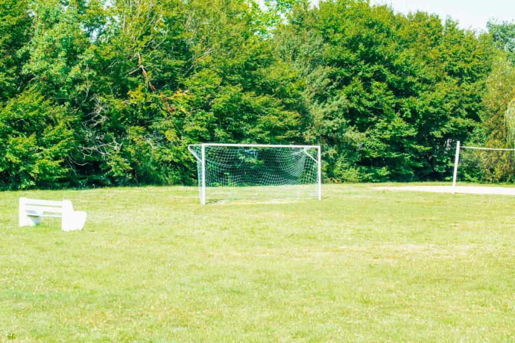 football net on the field at la roche posay yelloh village campsite