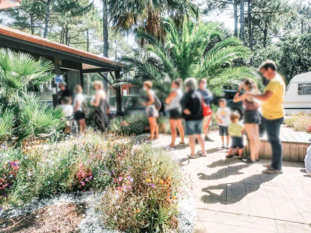 busy queues outside the campsite reception at sylvamar
