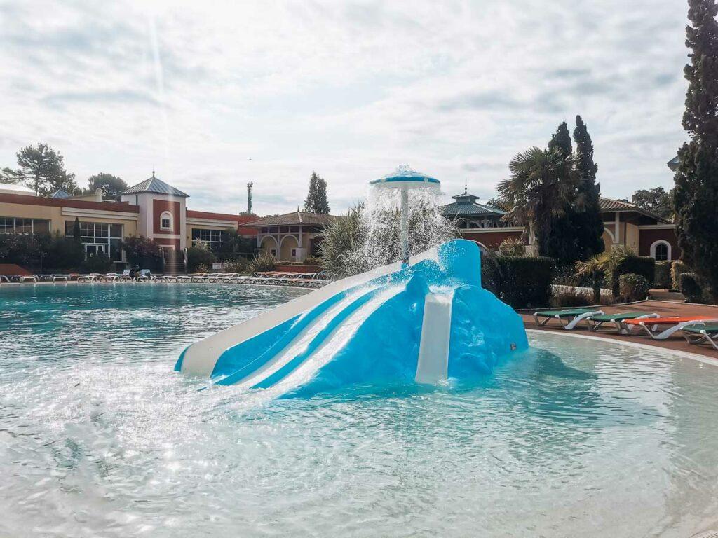 kids blue water slide at sylvamar campsite