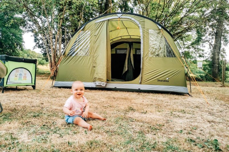 Baby at camping de civray photo with our tent for the camping de civray review page